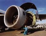 [A Rolls-Royce Trent 800 aircraft engine]